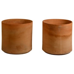 Pair of Huge Unglazed Architectural Terracotta Planters by Gainey Ceramics