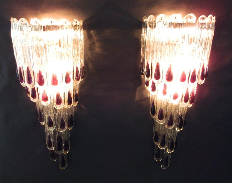 Pair of Huge Vintage Murano Wall Sconce, 27 Glasses 6