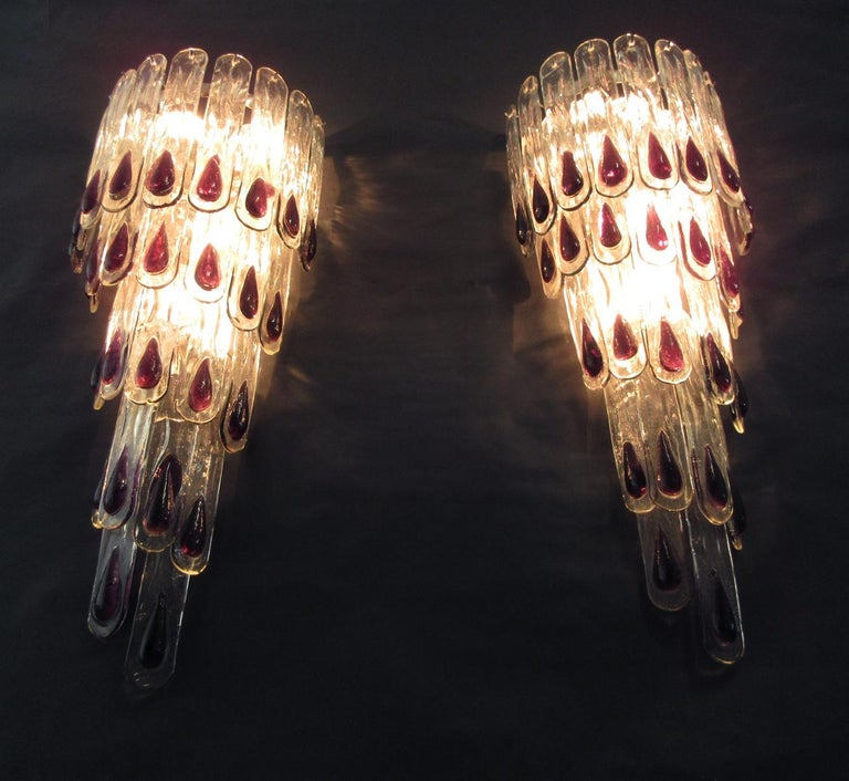 Pair of Huge Vintage Murano Wall Sconce, 27 Glasses 7