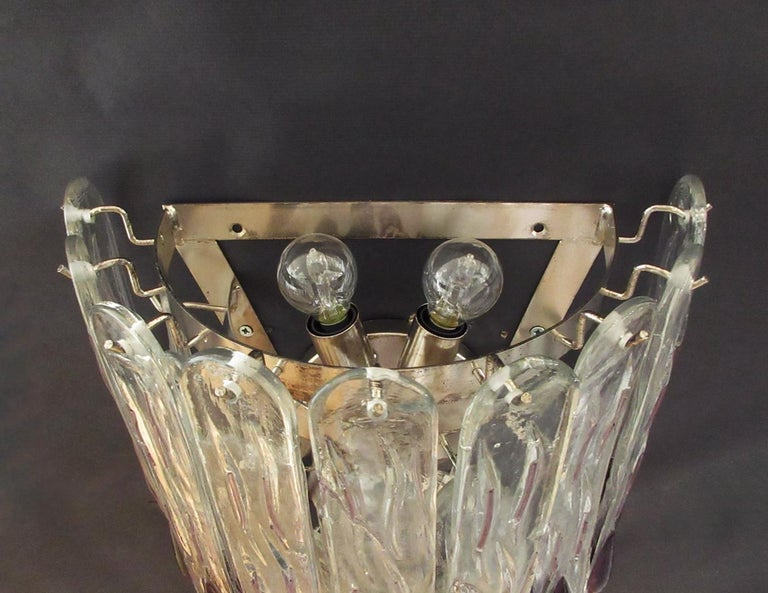 Mid-Century Modern Pair of Huge Vintage Murano Wall Sconce, 27 Glasses