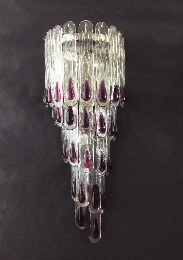 Pair of Huge Vintage Murano Wall Sconce, 27 Glasses 1