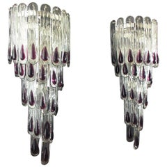 Pair of Huge Vintage Murano Wall Sconce, 27 Glasses