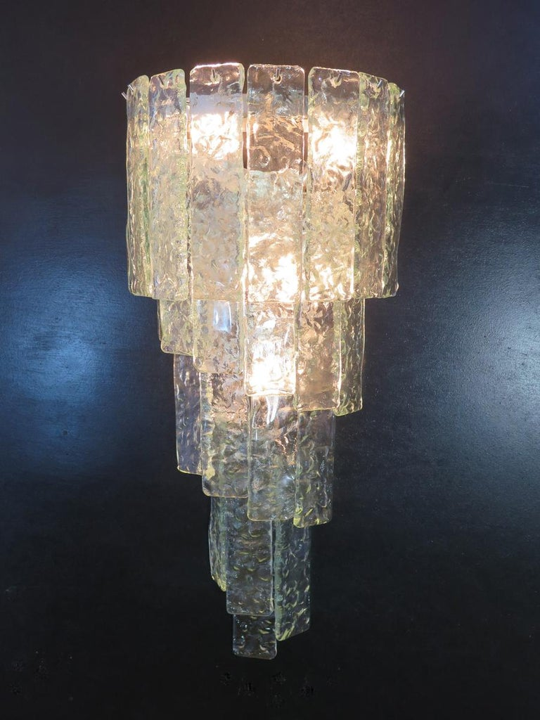 Pair of Huge Vintage Murano Wall Sconce In Good Condition In Gaiarine Frazione Francenigo (TV), IT
