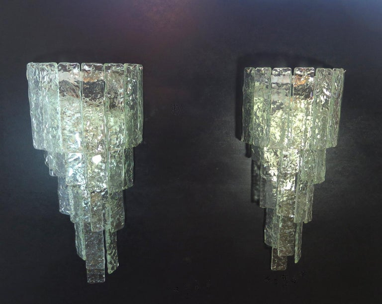 Blown Glass Pair of Huge Vintage Murano Wall Sconce
