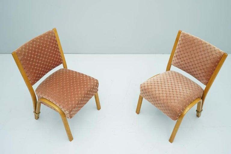 Mid-Century Modern Pair of Hugues Steiner Chairs, France, 1950s For Sale