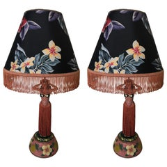 Pair of Hula Girl Resin Table Lamp with Floral Fringe Lamp Shades