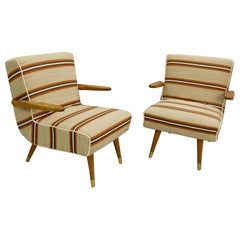 Pair of Hungarian Armchairs, New Upholstery
