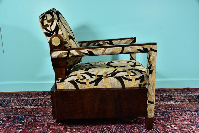 French  Hungarian Art Deco Armchair in Walnut For Sale