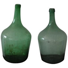 Pair of Hungarian Green Wine Bottles
