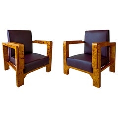 Pair of Hungarian Late Art Deco Burled Walnut and Rootwood Armchairs