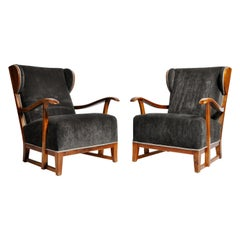 Pair of Hungarian Solid Walnut Armchairs