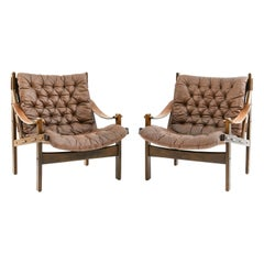 """Pair of """"Hunter"""" Lounge Chairs by Torbjørn Afdal for Bruksbo Norway, 1960s"""