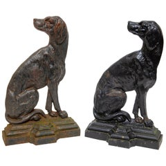 Pair of Hunting Dog Door Stops Cast Iron, 19th Century