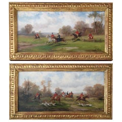 Pair of Hunting Scenes Oil on Board by Robert Stone, circa 1850