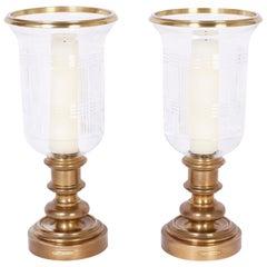 Pair of Hurricane Candlesticks by Ralph Lauren