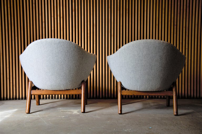 Mid-Century Modern Pair of Ib Kofod Larsen Pod Chairs Retailed by Povl Dinesen For Sale