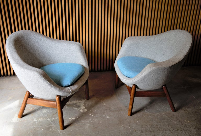 Danish Pair of Ib Kofod Larsen Pod Chairs Retailed by Povl Dinesen For Sale