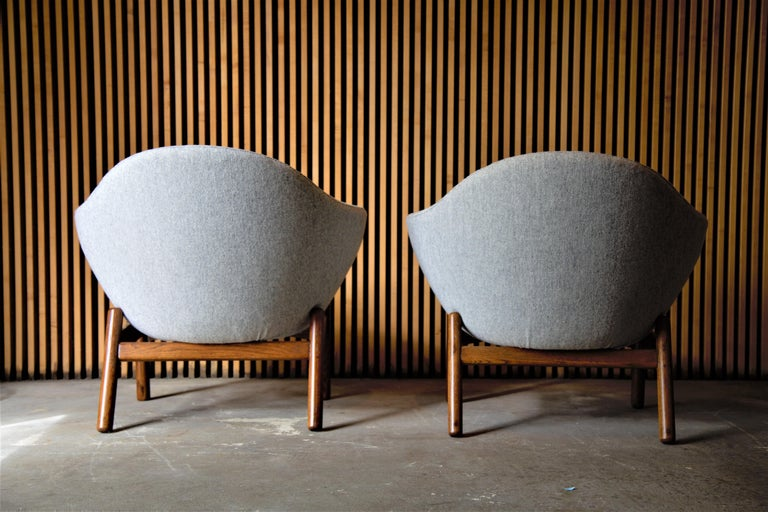 Wool Pair of Ib Kofod Larsen Pod Chairs Retailed by Povl Dinesen For Sale