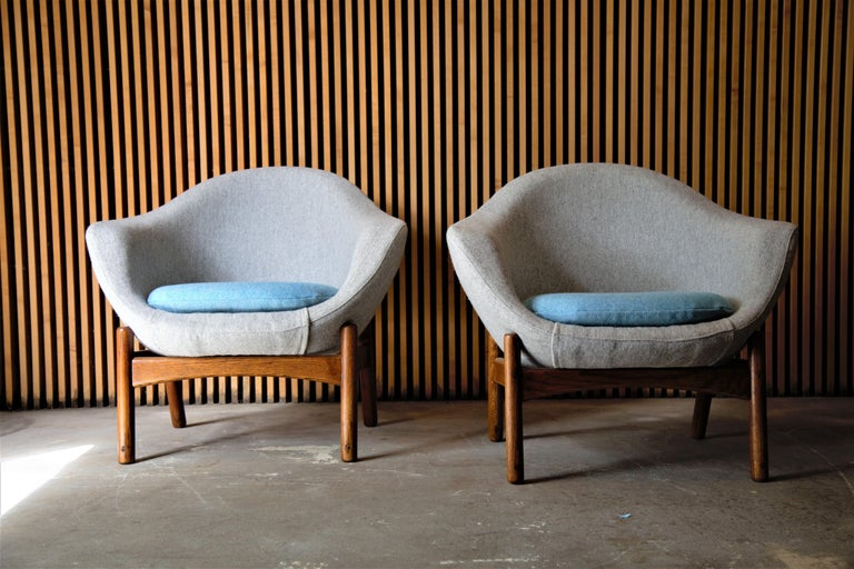 Pair of Ib Kofod Larsen Pod Chairs Retailed by Povl Dinesen For Sale 1