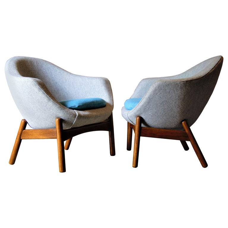 Pair of Ib Kofod Larsen Pod Chairs Retailed by Povl Dinesen For Sale