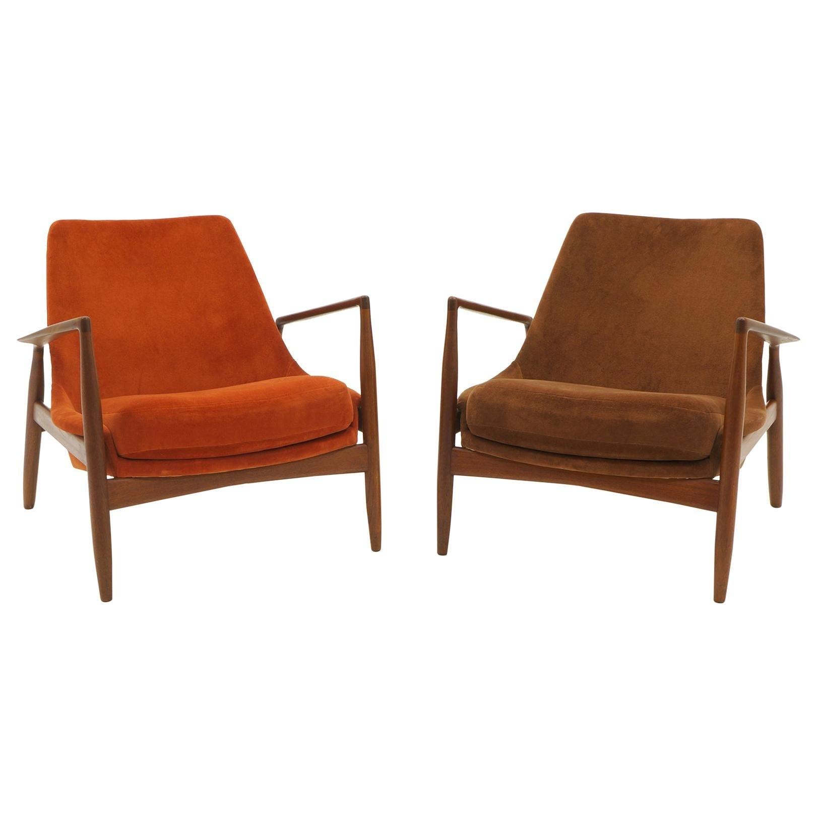 Pair of Ib Kofod-Larsen Seal or Sälen Lounge Chairs in Complimenting Fabrics