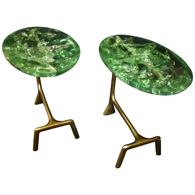 "Pair of Ice Cracked Resin ""Gucci"" Style Design Brass Side Tables For Sale"