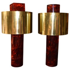 Pair of Ice Cracked Resin with Brass Shades Table Lamps