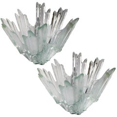 Pair of Ice Glass Candelholders or Bowls Wirkkala for Humppila, 1960s
