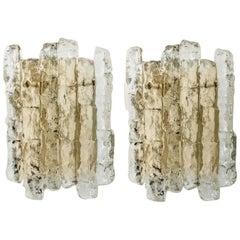 Pair of Ice Glass Wall Sconces with Brass Tone by J.T. Kalmar, Austria