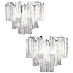Pair of Ice Tronchi Murano Glass Chandelier, 1980