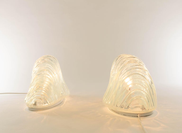 Original pair of iceberg table lamps or model LT 301 designed by Carlo Nason in the 1960s for A.V. Mazzega.
