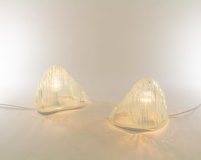 Metal Pair of Iceberg Table Lamps by Carlo Nason for A.V. Mazzega, 1960s For Sale
