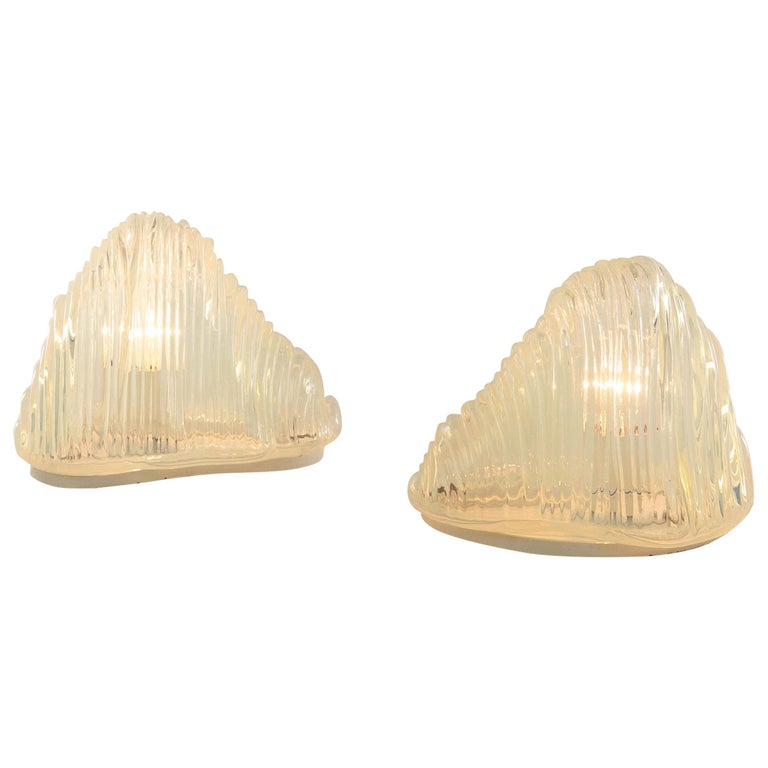 Pair of Iceberg Table Lamps by Carlo Nason for A.V. Mazzega, 1960s For Sale