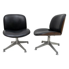 Pair of Ico Parisi Midcentury Italian Leather Swivel Chairs for MIM Roma, 1950s