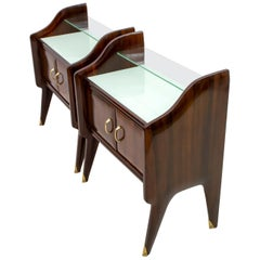 Pair of Ico Parisi Mid-Century Modern Italian Walnut Nightstands, 1950s