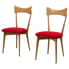 Pair of Ico Parisi Midcentury Red Chairs for Ariberto Colombo, 1950, New Fabric