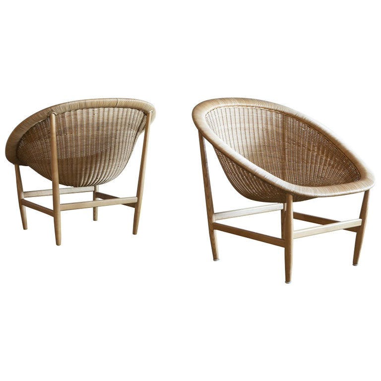 Pair of Iconic Basket Chairs by Nanna Ditzel, Denmark, 1950s For Sale