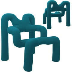 Pair of Iconic Blue Armchairs by Terje Ekstrom, Norway, 1980s