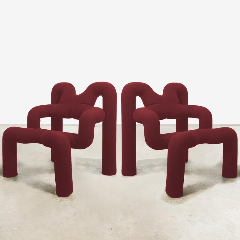 Wool Pair of Iconic Bordeaux Armchairs by Terje Ekstrom, Norway, 1980s