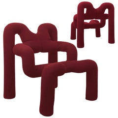 Pair of Iconic Bordeaux Armchairs by Terje Ekstrom, Norway, 1980s