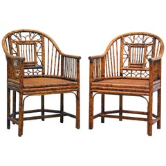 Pair of Iconic Brighton Pavilion Style Chinoiserie Burnished Bamboo Armchairs