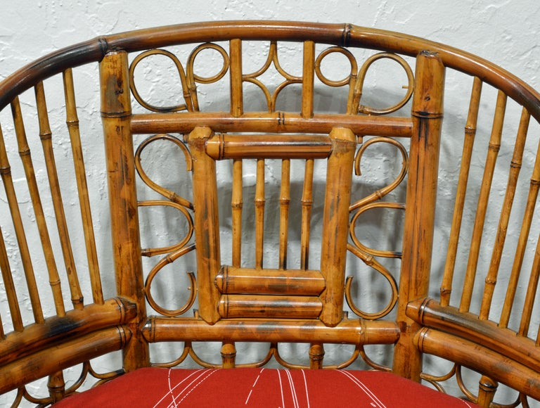 Pair of Iconic Brighton Pavilion Style Chinoiserie Chippendale Bamboo Armchairs For Sale 5
