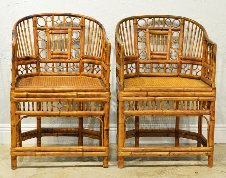 Chinese Chippendale Pair of Iconic Brighton Pavilion Style Chinoiserie Chippendale Bamboo Armchairs For Sale
