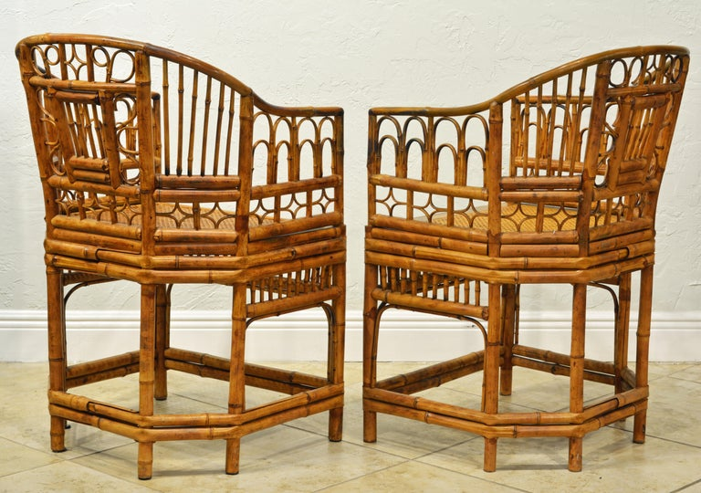 Asian Pair of Iconic Brighton Pavilion Style Chinoiserie Chippendale Bamboo Armchairs For Sale