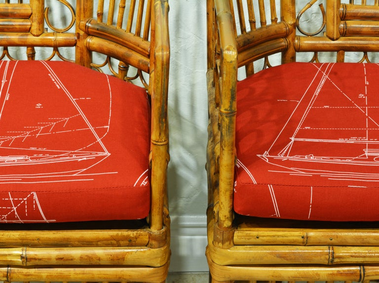 20th Century Pair of Iconic Brighton Pavilion Style Chinoiserie Chippendale Bamboo Armchairs For Sale