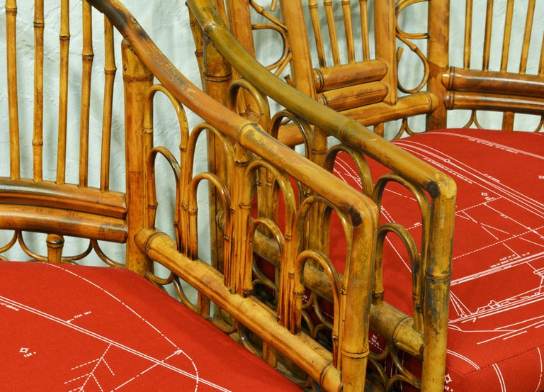 Pair of Iconic Brighton Pavilion Style Chinoiserie Chippendale Bamboo Armchairs For Sale 1