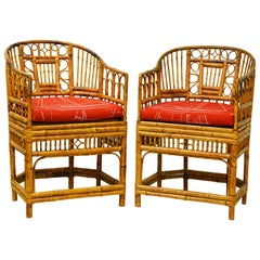 Pair of Iconic Brighton Pavilion Style Chinoiserie Chippendale Bamboo Armchairs