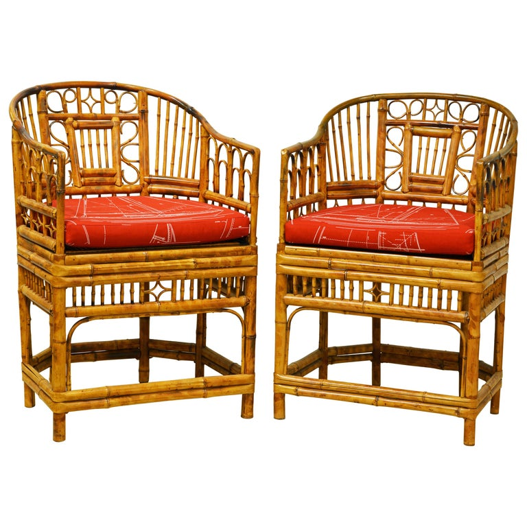 Pair of Iconic Brighton Pavilion Style Chinoiserie Chippendale Bamboo Armchairs For Sale