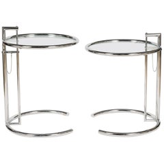 Pair of Iconic Eileen Gray E1027 Adjustable Round Chrome and Glass Side Tables