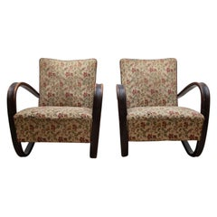 Pair of iconic H-269 lounge chairs by Jindrich Halabala for UP Závody Brno 1930s